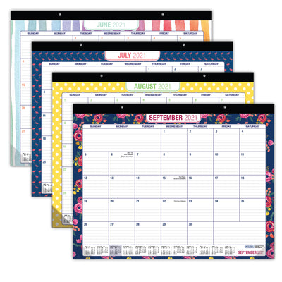 "Desk Calendar with Assorted Patterns 2020 - 2021: Large Monthly Pages - 22""x17"""