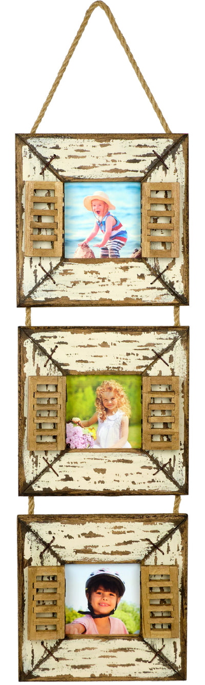 Rustic Hanging Picture Frames: 3 Photo Collage Wall Decor On Rope String