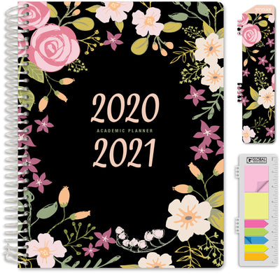 "HARDCOVER Academic Year 2020-2021 Planner 8.5""x11"" (Black Floral)"