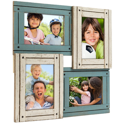 Collage Picture Frames from Rustic Distressed Wood: Holds Four 4x6 Photos