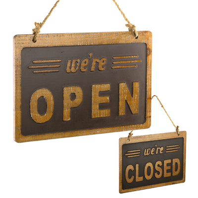 We're Open/Closed Sign Easy to Mount Reversible Wooden Sign 8x12 Inches (Brown)