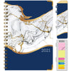 "HARDCOVER 2021 Planner - BLUE  w/GREY MARBLE (Nov 2020 - Dec 2021)(Medium 5.5"" x 8"")"