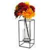 "Decorative Glass Vase with Metal Wire Stand: Clear Vase (12.5"" x 5.75"")"