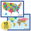 10 Extra Large USA Map and World Map Posters (24x17 inch Double Sided)