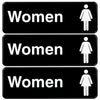 "Woman Restroom Sign: Easy to Mount with Symbols 9""x3"", Pack of 3 (Black)"