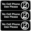 No Cell Phone Use Sign: Plastic Sign with Symbols 9x3, Pack of 3 (Black)