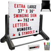 Swinging Changable Message Sidewalk Sign: 37x36 Sign with 792 Sided Letters