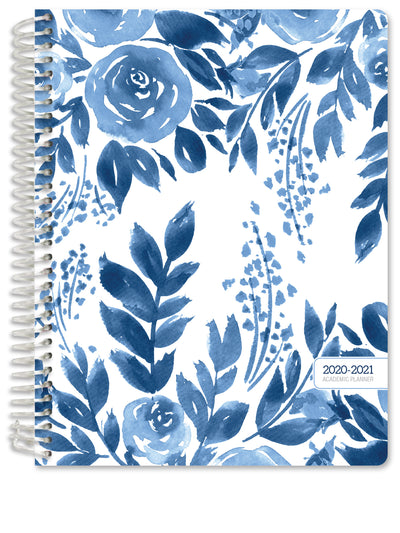 "HARDCOVER Academic Year 2020-2021 Planner 8.5""x11"" (Blue Bloom)"
