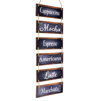 "Excello Global Products Large Hanging Wall Sign: Coffee Theme (11.75"" x 32"")"