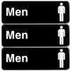 "Men Restroom Sign: Easy to Mount with Symbols 9""x3"", Pack of 3 (Brown)"