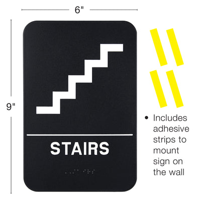 Plastic Sign:  with Braille (ADA Compliant), 6x9,  Stair Pack of 3