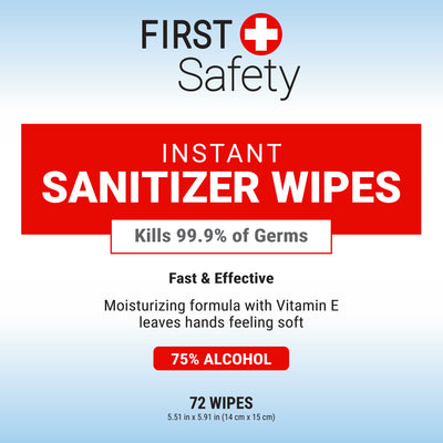 Case of 24 First Safety Hand Sanitizer Wipes 72 ct Tub