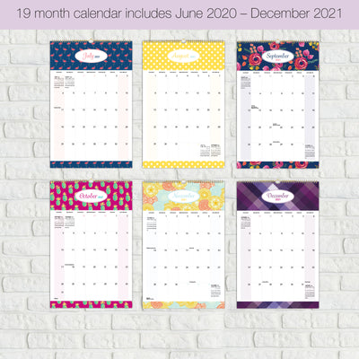 "2020 - 2021 Wall Calendar - Colorful, Vibrant, Fun and Fashionable Monthly Calendar (11"" x 17"")"