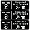 "No Pets, Shoes, Shirt Required Sign: 9""x3"", Pack of 3 (Brown)"