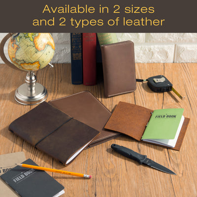 Stitched Leather Journal Notebook Cover with 5 Journals (5x8 - Medium)