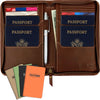 Leather Travel Wallet & Passport Holder: Passport Cover holds 4 Passports