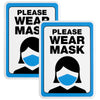 "Please Wear Mask Sign: 5""x7"" Plastic Sign for Businesses with Easy Mount Adhesive Strips (Pack of 2)"