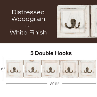 Rustic Wall Mounted Coat Rack with 4 double hanging hooks
