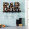 Wall Mounted Wine Glass Holder and Cork Holder: Holds 6 Wine Glasses