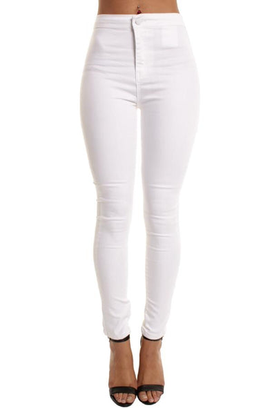 White High Waisted Plain Skinny Jeggings