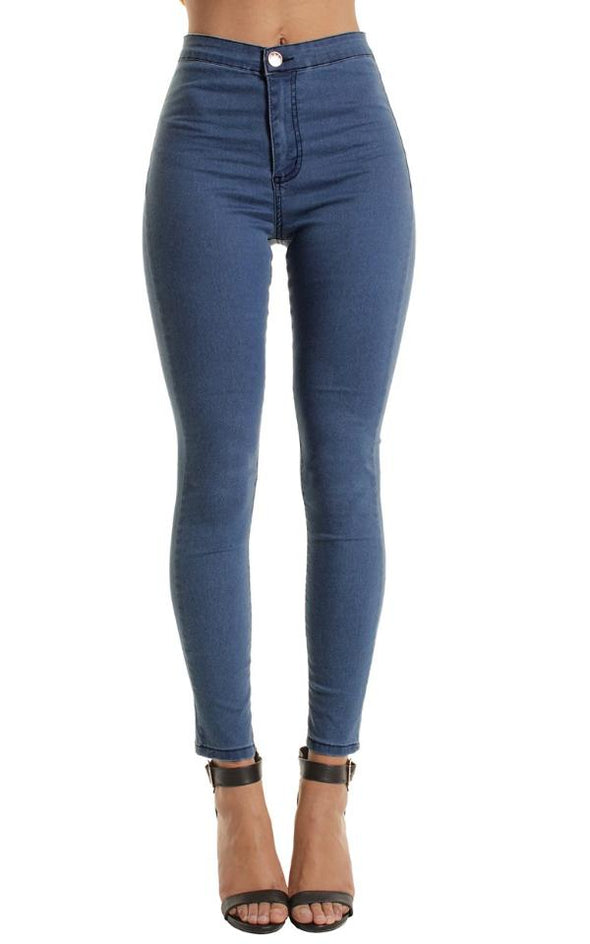 Mid Blue High Waisted Plain Skinny Jeans Jeggings