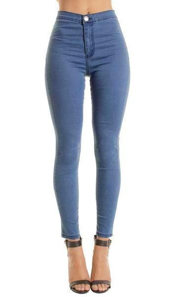 Light Blue High Waisted Plain Skinny Jeans Jeggings