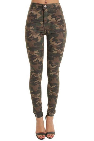 Camouflage High Waisted Plain Skinny Jeans Jeggings