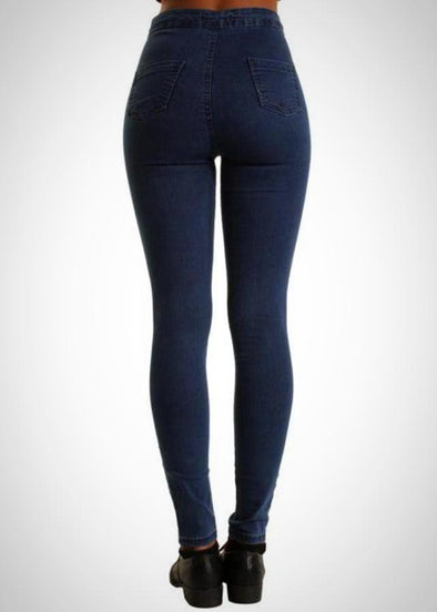 Dark Blue High Waisted Ripped Knee Skinny Stretchy Jeans