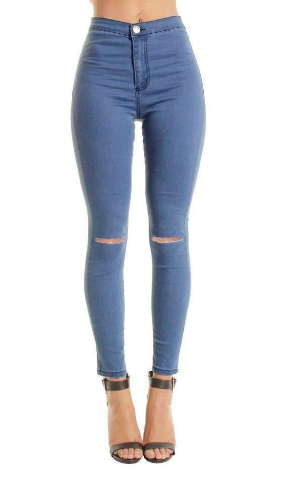 Light Blue High Waisted Ripped Knee Skinny Jeans Jeggings