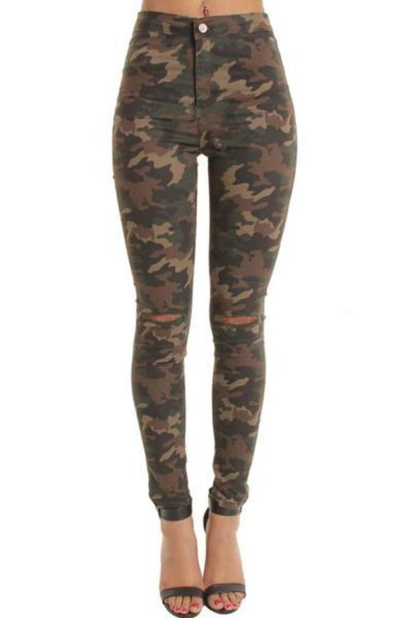 Camouflage High Waisted Ripped Knee Skinny Jeans Jeggings