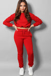 ELASTICATED DRAWSTRING CROPPED TOP AND JOGGERS RED TRACKSUIT SET
