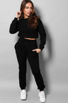 ELASTICATED DRAWSTRING CROPPED TOP AND JOGGERS BLACK TRACKSUIT SET