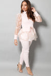 ORGANZA DETAIL PUFF SLEEVE RIBBED TOP LEGGINGS PINK LOUNGE SET