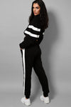 ZIP CROP TOP BLACK STRIPE DETAILS RACER LOUNGEWEAR SET