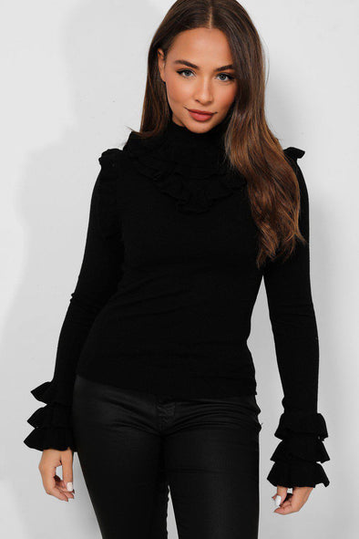FRILL LONG SLEEVE SOFT KNIT BLACK STRETCHY PULLOVER