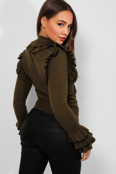 FRILL LONG SLEEVE SOFT KNIT KHAKI STRETCHY PULLOVER