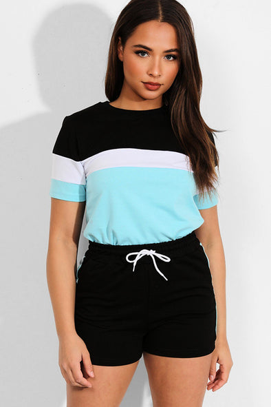 COLORBLOCK BLACK AQUA T-SHIRT SHORTS MATCHING LOUNGEWEAR SET