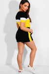 COLORBLOCK BLACK YELLOW T-SHIRT SHORTS MATCHING LOUNGEWEAR SET