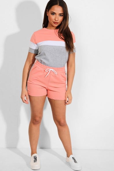 COLORBLOCK GREY PINK T-SHIRT SHORTS MATCHING LOUNGEWEAR SET