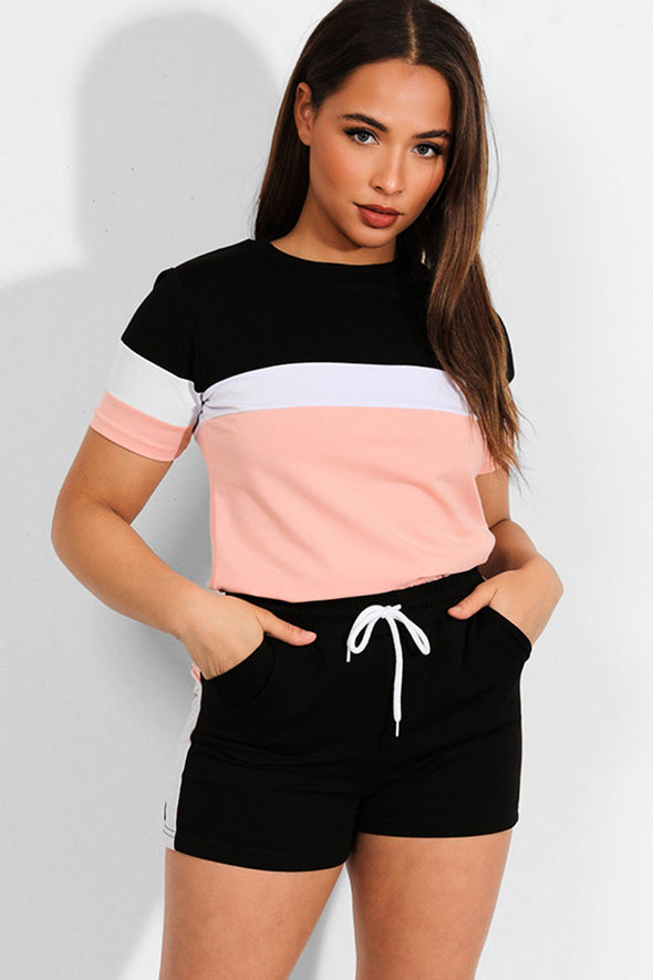 COLORBLOCK BLACK PINK T-SHIRT SHORTS MATCHING LOUNGEWEAR SET