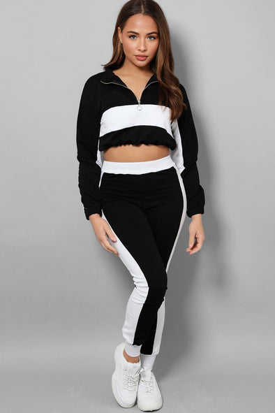 HIGH NECK ZIP CROP TOP CONTRAST PANEL BLACK LOUNGE SET
