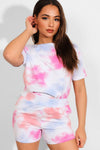 MULTI TIE DYE CASUAL T-SHIRT SHORTS MATCHING LOUNGEWEAR SET