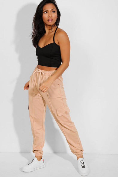 Soft Jersey Drawstring Combat Beige Joggers
