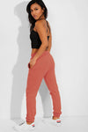 DUSTY PINK ELASTICATED WAIST CUFFED HEM SIDE POCKETS JOGGERS