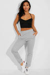 GREY ELASTICATED WAIST CUFFED HEM SIDE POCKETS JOGGERS