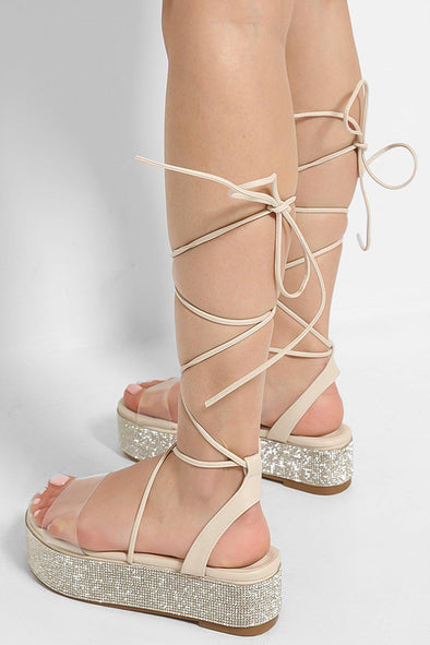 PERSPEX CRYSTALS EMBELLISHED FLATFORM LACE UP NUDE SANDALS