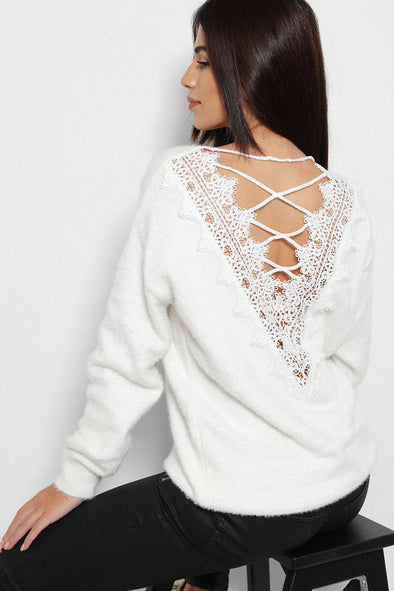 LATTICE BACK CROCHET BACK FLUFFY KNIT WHITE PULLOVER