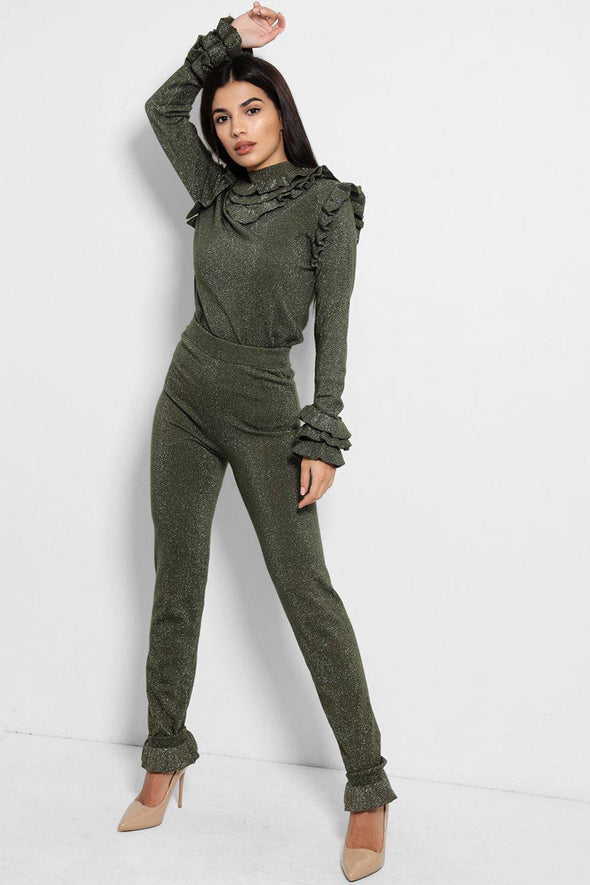 FRILL MOCK NECK SWEATER & LEGGINGS SHIMMER GREEN LEISURE SUIT