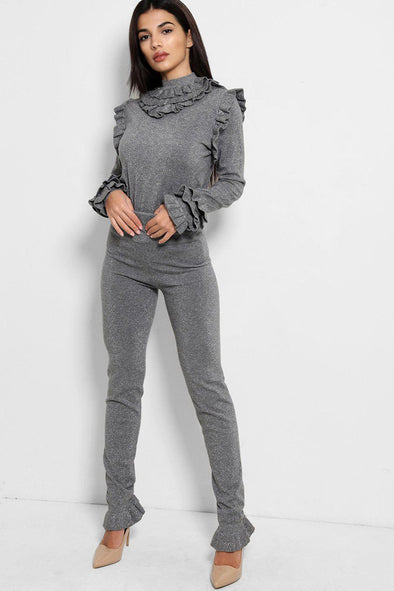 FRILL MOCK NECK SWEATER & LEGGINGS SHIMMER GREY LEISURE SUIT