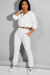 WHITE ELASTICATED WAIST CUFFED HEM SIDE POCKETS JOGGERS